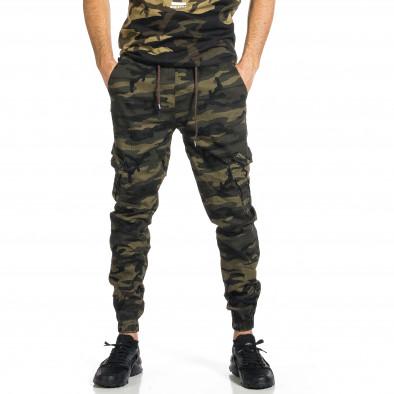 Мъжки карго панталон зелен камуфлаж tr270421-5 2