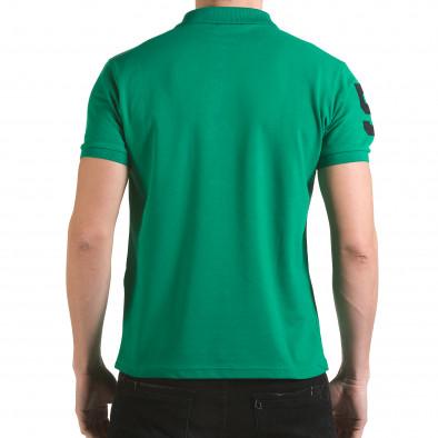 Мъжка зелена тениска с яка с релефен надпис Super FRK il170216-26 3
