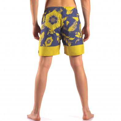 Мъжки сини бански с жълти цветя it150616-20 3