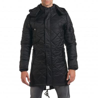 Мъжко дълго зимно яке в черно с качулка it190616-9 2