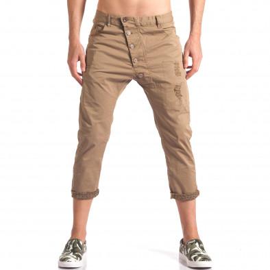 Мъжки кафяв панталон 7/8 тип потури it250416-28 2