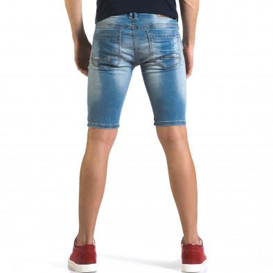 Мъжки светло сини къси дънки с декоративни кръпки Flex Style 5
