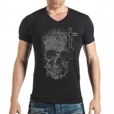 Черна мъжка тениска с череп от сребристи и черни камъни il140416-9 2