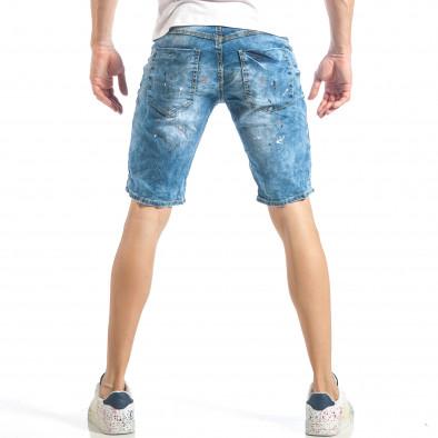 Slim fit мъжки къси дънки в синьо с цветни пръски it040518-77 3