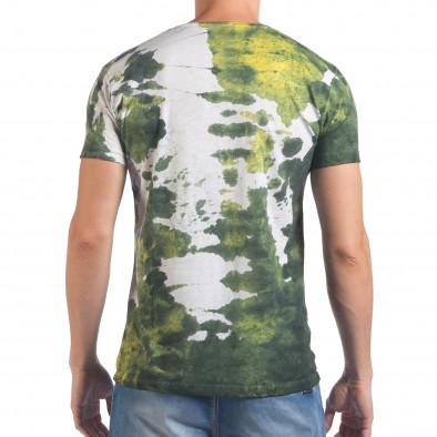 Мъжка бяла тениска с жълто-зелен принт il060616-52 3