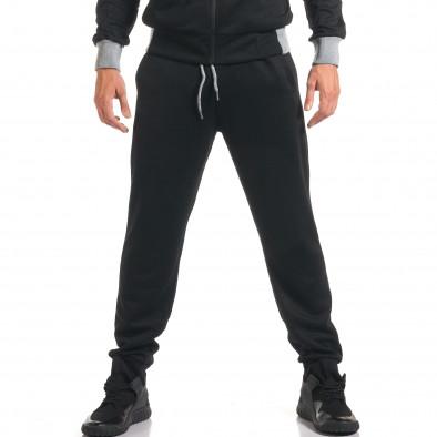 Мъжки черен спортен комплект с декоративен цип it160916-77 5