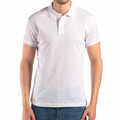 Мъжка бяла тениска с яка изчистен модел it150616-39 2