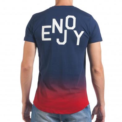 Мъжка синя тениска с червено в края il060616-26 3