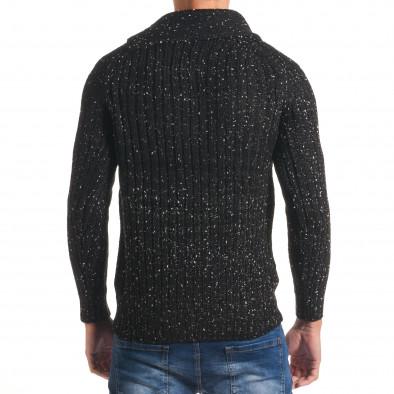 Мъжки черен зимен пуловер с малки бели точки it170816-52 3