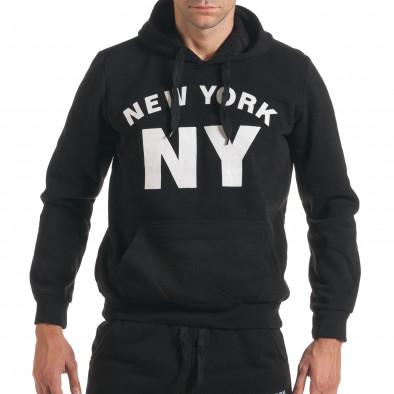 Мъжки черен спортен комплект с надпис it160916-57 4
