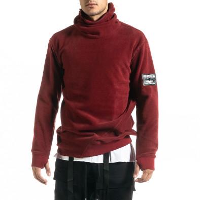 Мъжки тъмночервен суичър от полар с качулка tr020920-26 3