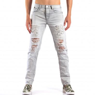 Мъжки сиви дънки с големи скъсвания it160616-21 2