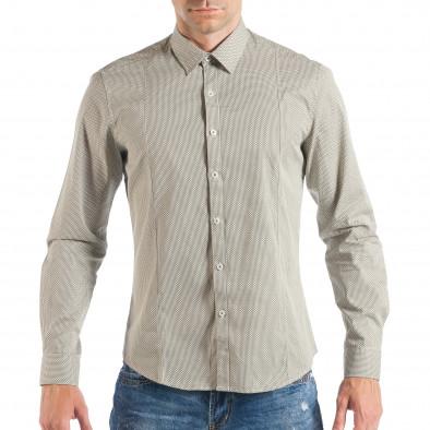 Мъжка бежова риза с дребен класически десен it050618-12 2