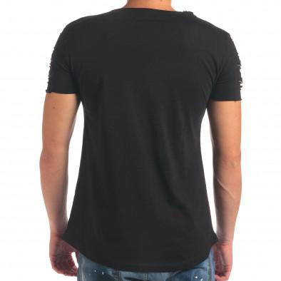 Мъжка черна тениска с надпис и скъсвания на ръкавите il210616-8 3