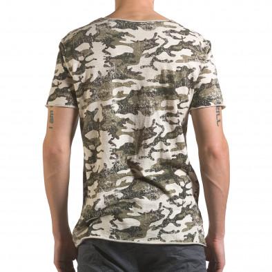 Мъжка камуфлажна тениска с леко захабен ефект it110316-92 3