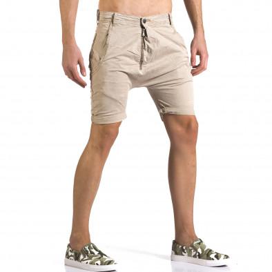 Мъжки бежови къси панталони със смъкнато дъно it110316-35 4