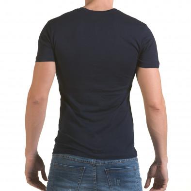 Мъжка синя тениска със сребристо-син принт SAW 4