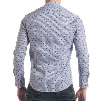 Мъжка синьо-бяла раирана риза с птички it140317-2 3