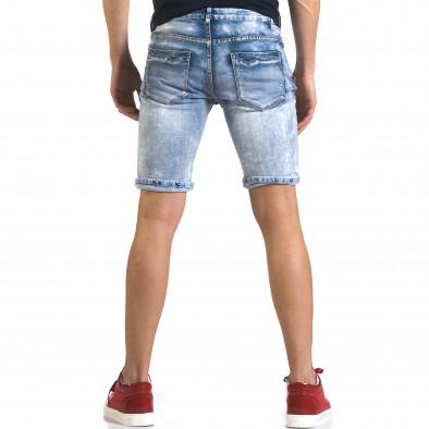 Мъжки светло сини къси дънки с големи скъсвания it110316-72 3