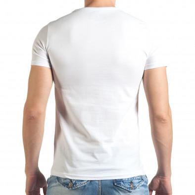 Мъжка бяла тениска с рокерска щампа Just Relax 4