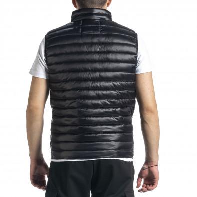 Капитониран мъжки черен елек с лого it270221-59 3