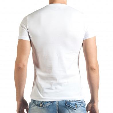 Мъжка бяла тениска със сив принт и надпис Just Relax 4