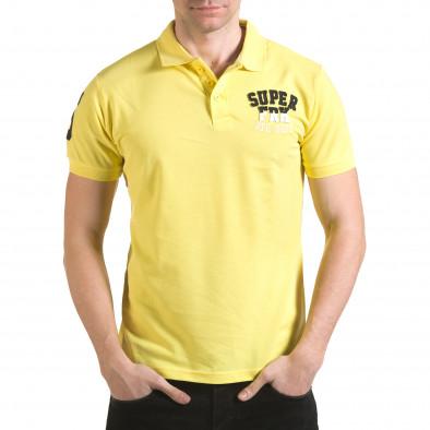 Мъжка жълта тениска с яка с релефен надпис Super FRK il170216-22 2