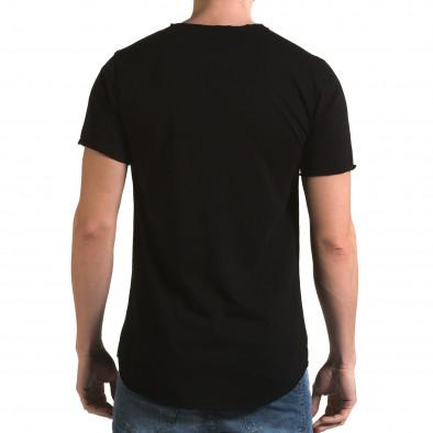 Мъжка издължена черна тениска с як принт it090216-73 3