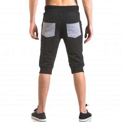 Мъжки черни къси потури с контрастни джобове ca050416-35 3