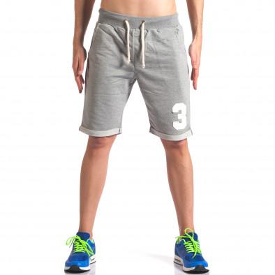 Мъжки сиви шорти за спорт с номер New Men 5