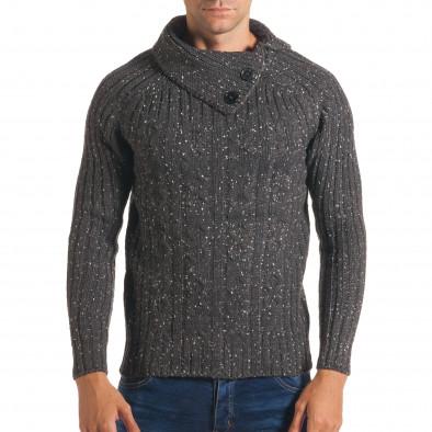 Мъжки сив зимен пуловер с малки бели точки it170816-51 2