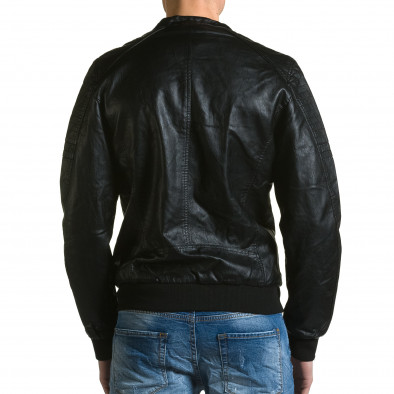 Мъжко черно кожено яке с джобове на гърдите ca190116-36 3