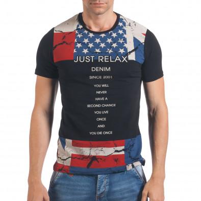 Мъжка черна тениска с Американското знаме Just Relax 4