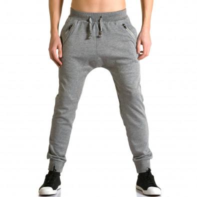 Мъжки светло сиви потури с ципове до джобовете ca190116-17 2