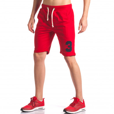 Мъжки червени шорти за спорт с номер New Men 5