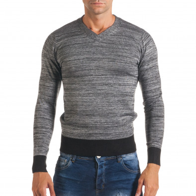 Мъжки сив пуловер с остро деколте it170816-11 2