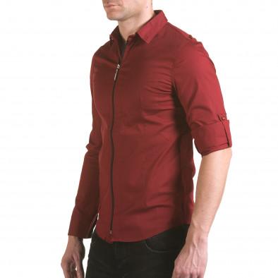 Мъжка червена риза с цип il170216-93 4