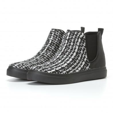 Дамски черни боти с бяло-черна текстилна част it110817-5 3