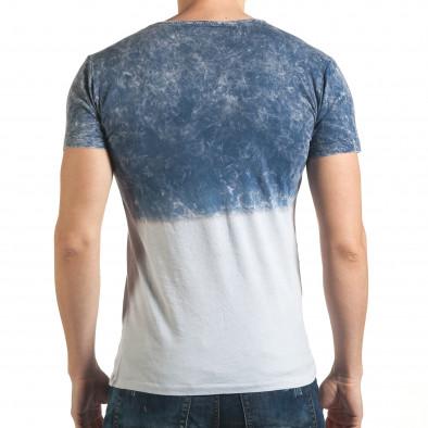 Синя мъжка тениска с надпис Lagos 4