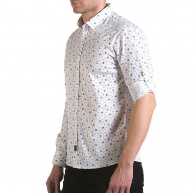 Мъжка бяла риза с малки цветя il170216-118 4