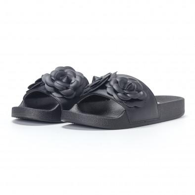 Дамски черни чехли с релефни цветя it230418-21 3
