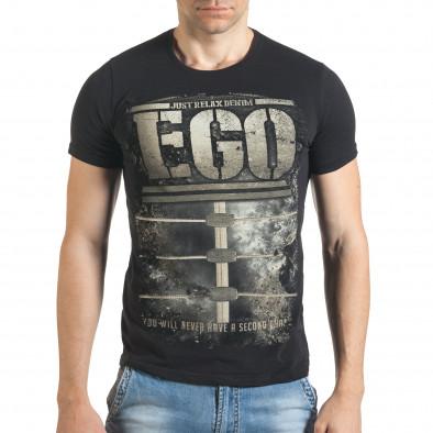 Черна мъжка тениска с голям бежов принт il140416-30 2