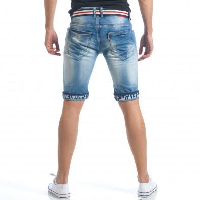 Мъжки къси дънки с текстилен колан it190417-64 3