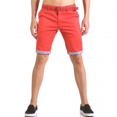 Мъжки червен къс панталон с плетен колан ca050416-55 2