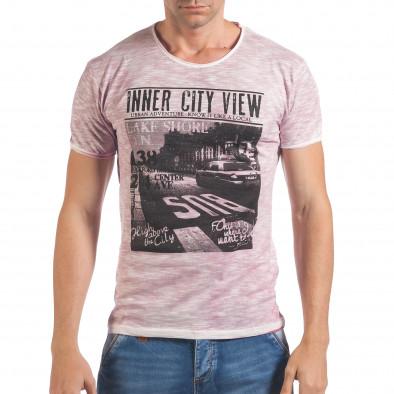 Мъжка розова тениска с принт и надпис Inner City View il060616-41 2