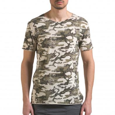 Мъжка камуфлажна тениска с леко захабен ефект it110316-92 2