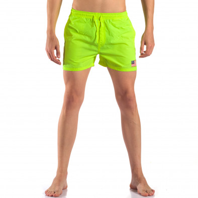 Мъжки неоново зелени бански с Американското знаме it150616-26 2