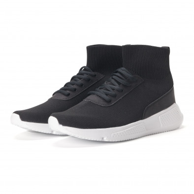 Комбинирани черни мъжки маратонки тип чорап it020618-17 3