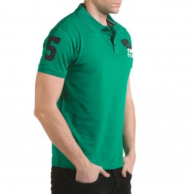 Мъжка зелена тениска с яка с релефен надпис Super FRK il170216-26 4