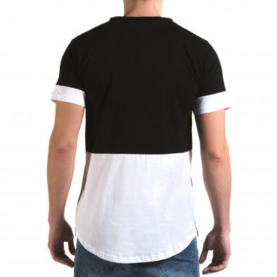 Мъжка черна тениска с бяла долна част Man 5